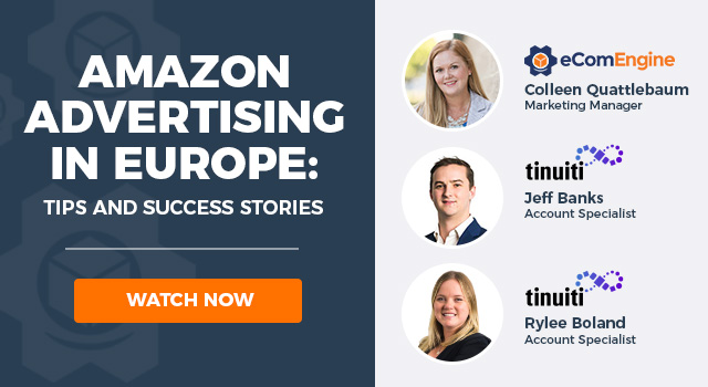 "Photos of the presenting experts with text, ""Amazon advertising in Europe"""
