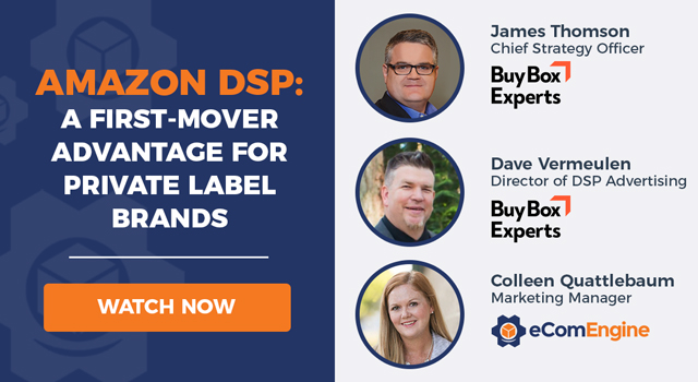 """Webinar presenters with text, """"Amazon DSP: A First-Mover Advantage for Private Label Brands"""""""