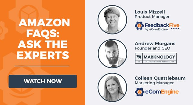 """Headshots of the three presenters with text, """"Amazon FAQs: Ask The Experts"""""""
