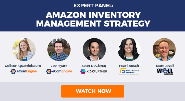 "Image with text, ""Expert Panel: Amazon Inventory Management Strategy"" and headshots of the five presenters."