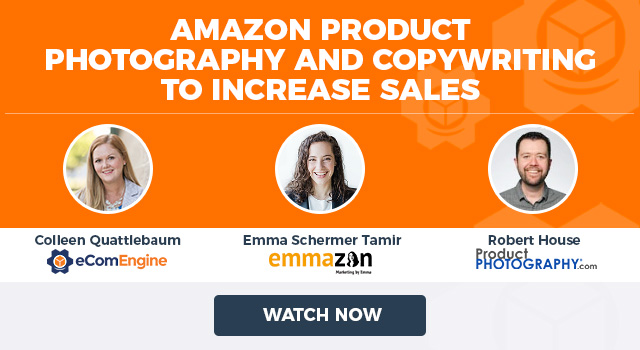 "Photos of the presenting experts with text, ""Amazon Product Photography and Copywriting to Increase Sales"""