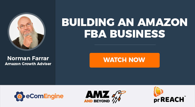 "Logos of eComEngine, AMZ and Beyond, and prREACH with text, ""Building an Amazon FBA business"""