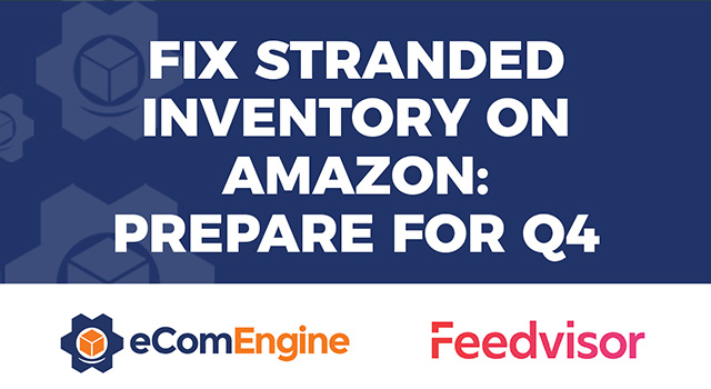 "eComEngine logo and Feedvisor logo with text, ""Fix Stranded Inventory on Amazon: Prepare for Q4"""