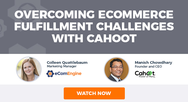 """Headshots of the two presenters with text, """"Overcoming eCommerce fulfillment challenges with Cahoot"""""""