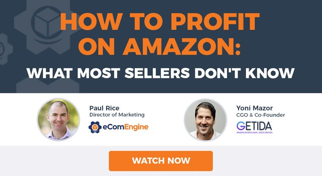 """eComEngine and GETIDA presenters with text, """"How to Profit on Amazon: What Most Sellers Don't Know"""""""