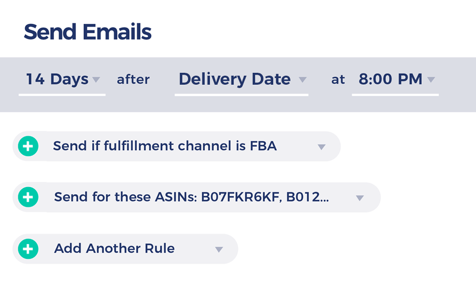 Illustration of the email campaign rules window in FeedbackFive