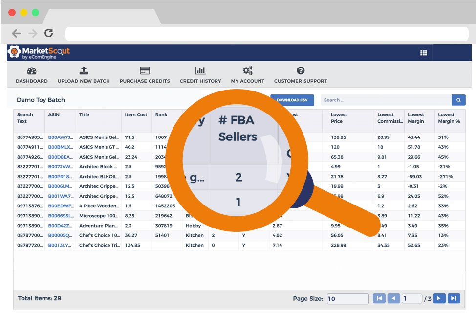FBA competitor report in MarketScout beneath a magnifying glass