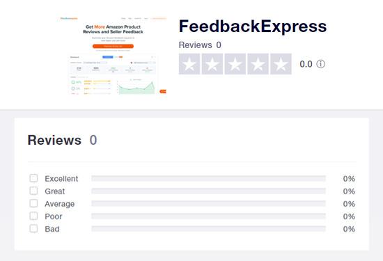Trustpilot screenshot showing zero reviews for FeedbackExpress