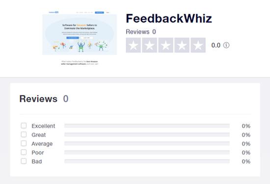 Trustpilot screenshot showing 0 reviews for FeedbackWhiz